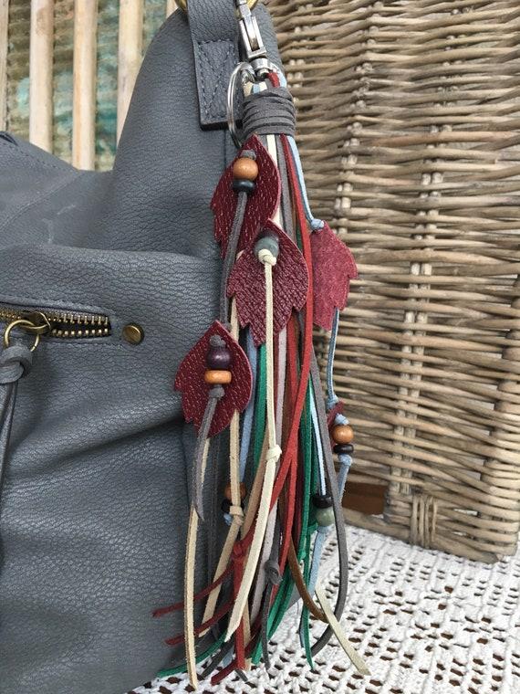 "Boho Fringe Tassel Bag Charm + Keyring Faux Leather Tassel Real Leather Leaves & Wood Beads 8.5"" Long + Clip (OOAK48)"