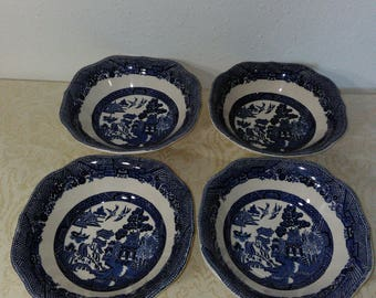 Set of Four (4) Square Cereal Bowls in Willow Blue (Made in England, Earthenware) by Johnson Brothers