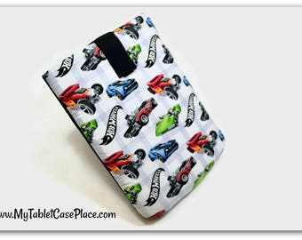Handcrafted, Tablet Case, iPad Case, Hot Wheels, iPad Mini Case, Kindle Case, Tablet Sleeve, Cozy, Handmade, FOAM Padding, Gift, White