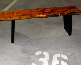 Maple and burned Green Ash Bench
