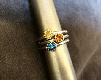 Silver And Gold Gemstone Ring