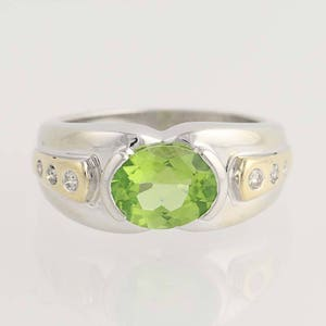 Peridot and Diamond Ring - 14k White & Yellow Gold August Birthstone 2.14ctw N2088