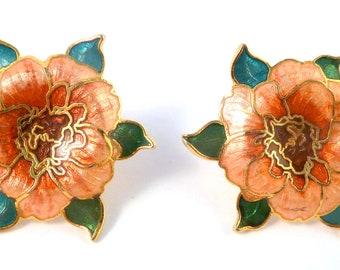 Vintage Rose Earrings, Large Earrings, Cloisonne Enamel,  Pink Rose Flower Earrings.