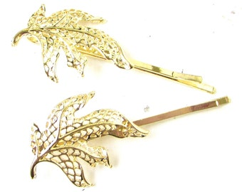 Set of 2 Gold Tone Leaf Hair Clips Bobby Pins Woodland Bridal Grips Vintage 1015