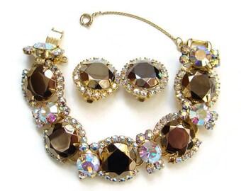 Juliana Copper Lustre Aurora Borealis Rhinestone Bracelet Clip Earrings DeLizza Elster 5 Link
