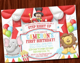 Ringmaster Big Top Circus themed invitation