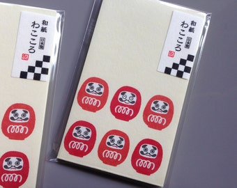 6 Little Envelopes with Daruma made in Japan