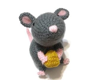 Amigurumi Mouse Plush Crochet Mouse Doll Stuffed Animal Kawaii Rat Plush Nursery Decor Baby Shower Birthday Gift for Her