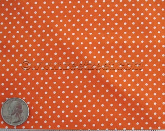 PINDOT ORANGE White 100% Cotton Fabric by the Yard, Half Yard, Fat Quarter Robert Kaufman Pimatex Basics Halloween Dot Polka Dots