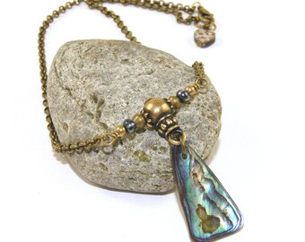 Paua Shell Necklace, Made in New Zealand, Brass Guru Bead and Chain