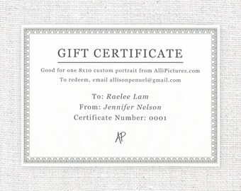 GIFT CERTIFICATE – 8 x 10 – Original, One-of-a-Kind, Personalized, Hand Drawn Illustration (Children Only)