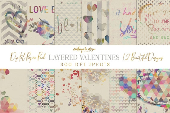 Digital Paper Pack, Layered Valentines Day Hearts, 12 x 12 for Background, Scrapbooking, Instant download, Planner Printable
