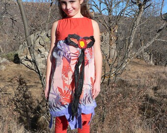 summer bohemian dress for a girl age 6 to 9