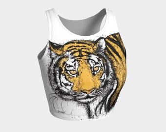 Tora Athletic Crop Top #2 Tiger Animal Print Yoga Gym Fitness Volleyball Beach Swimwear Swimsuit Performance Festival