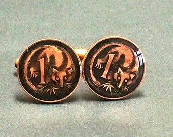 Australia coin cufflinks cent Ring-tailed opossum 18mm.