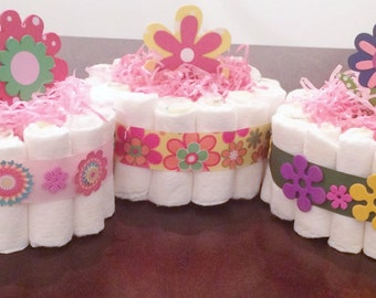 Mini Diaper Cakes|Baby Accessories|Diaper Cake For Girl|Party Centerpiece|Flower Diaper Cakes