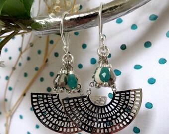 ANGELE * beads and half moon Silver earrings