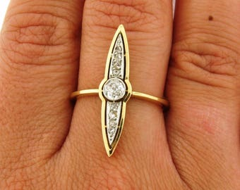 Original Art Deco Navette Shaped Diamonds Platinum 18k Yellow Gold Ring