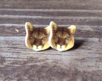 Mountain lion earrings puma cougar jewelry big cat