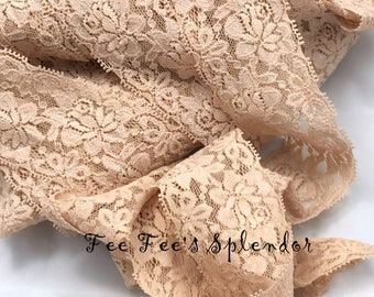 "Beige Lace Elastic 2""- Lace Elastic by the yard - Stretch Lace- Headband lace- Soft Lace"