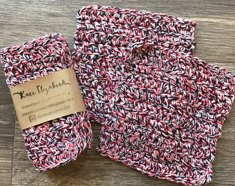 Crochet Washcloth | Red, White and Blue