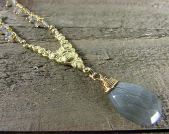 Labradorite Pendant, Gold Rose Connector Necklace, Labradorite Dangle Necklace, Long Gemstone Necklace