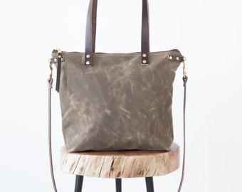 Waxed Canvas Lauren Bag, Waxed Canvas zipper bag, waxed canvas tote Bag, convertible crossbody bag, waxed canvas carryall, medium size bag