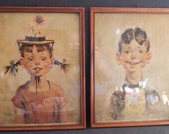 2 Florence Kroger Framed Prints Penelope And Oswald Donald Art Co Lithographs