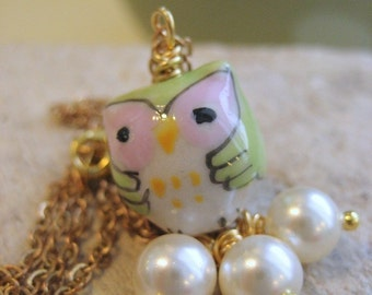 Necklace. Owl Melt With You Porcelain Owl and Pearl Dangles
