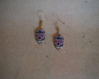 Earrings Los Muertos, skull mexico