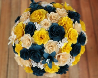 Wooden Flowers Bouquet- Navy Blue and Yellow Wooden Bouquet for Wedding and Home Decor Centerpiece,Mother's Day Gift, Prom Bouquet