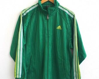 Vintage ADIDAS Jacket Men Medium 90's Sportswear Sports Three Stripes Trainer Windbreaker Sweater Green Jacket Size M