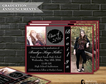Graduation Announcement or Invitation, Class of 2016,  Digital File - Select  Background Color