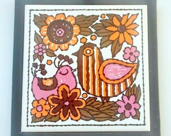 Holt Howard Cast Iron Ceramic Tile Trivet Retro Mid Century Kitchen Decor Pop Art Design Orange Pink Floral Birds Spoon Rest Wall Art