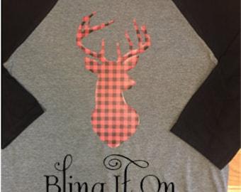 Custom Made Plaid Reindeer shirt