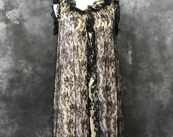 Vintage 1950's Bergdorf Goodman peignoir black lace nylon