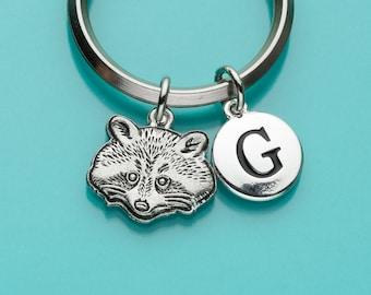 Raccoon Keychain, Raccoon Key Ring, Initial Keychain, Personalized Keychain, Custom Keychain, Charm Keychain, 299