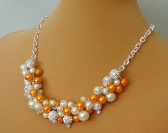 ON SALE BRIDESmaid Gift Ivory &Burnt Orange Pearl RHINESTONE Bead Cluster Maid Of Honor WEDDing Mother Of Bride Bridal Necklace By DYEnamite