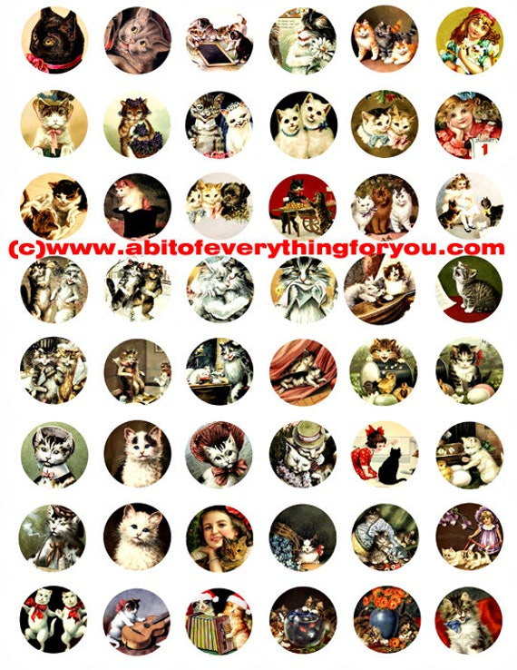 kitten cats vintage art clip art digital download collage sheet 1 inch circles vintage graphics animal pet images printables pendants