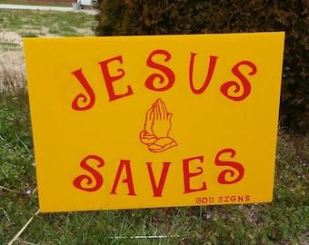"Godsigns Christian Yard Sign ""Jesus Saves"" yellow sign"