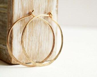 Simple hoop earrings -  gold fill hoops -  1 inch hoops earrings -  14k gold filled -  everyday earrings - gift for her - jewelry under 25