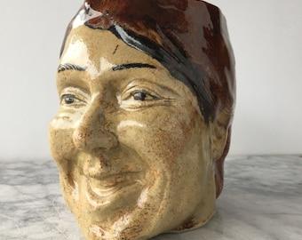 Face Vase Laughing Pot Head With Bas Relief Sculpture Dancer Planter Vessel