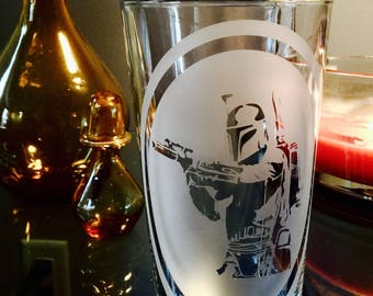 Boba Fett / Star Wars / Hand etched 16oz Pint Glass