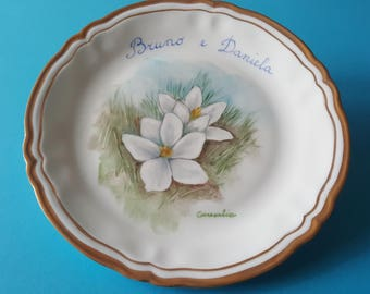Limoges porcelain dish-18.5 cm-customizable-snowdrops-double fillet in pure gold