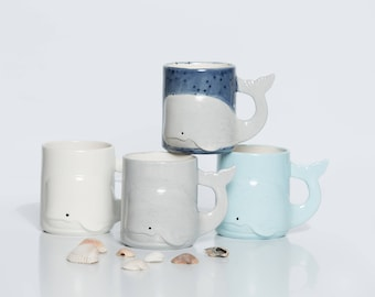 Whale Mug Handmade, Beach Large Ceramic Coffee Mugs from my Charleston, SC Studio