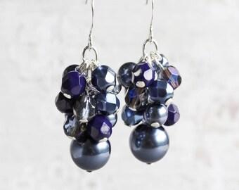 Navy Blue Earrings, Dark Blue Bridesmaid Earrings, Cluster Earrings, Wedding Jewelry