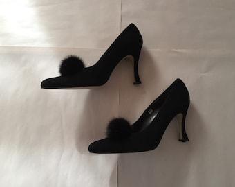 FUR POM POM high heels | black suede leather heels | 90s J. Renee high heels | 9M