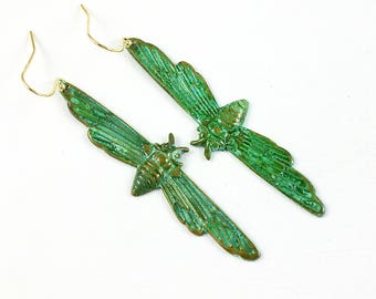 Winged Moth Patina Earrings . green turquoise verdigris .