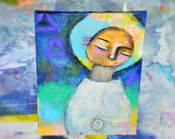 Release -- Original 5x7 Mixed Media Nixie Painting