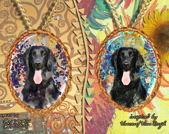 Flat Coated Retriever Jewelry Pendant - Brooch Handcrafted Porcelain by Nobility Dogs - Gustav Klimt and Van Gogh